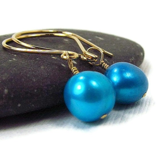 Gold Aqau Blue Earrings Freshwater Cultured Pearls Malibu Wedding Jewellry Ample Goddess Jewelry