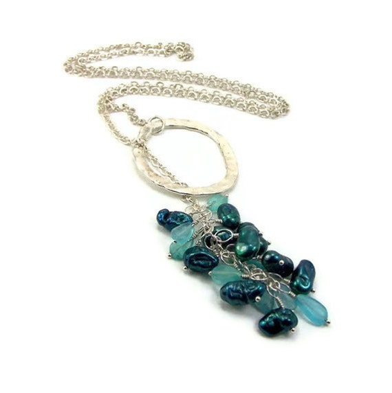 Teal Lariat Necklace - Heavy Chain Apatite Gemstones & Pearls Pendant Cluster Handmade Jewelry Necklace