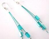 Sterling & Czech glass dangle earrings, Teal