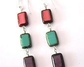 Wired Czech picasso bead & sterling earrings