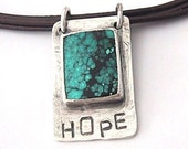 Bezel-set sterling silver and turquoise HOPE pendant
