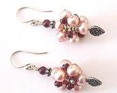 Garnet & freshwater pearl sterling cluster earrings