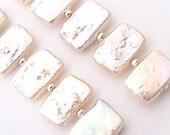 Picket Fence - palest peach pearl earrings