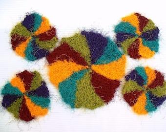 Handknit Pinwheel Coaster Set in Recycled Silk