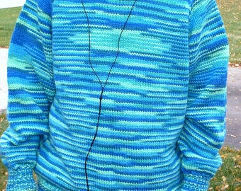 Retro Lime and Turquoise Hand Knit Turtleneck