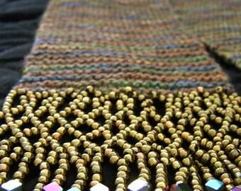 Sea Wool Hooded Scarf with Lattice Fringe