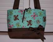 Brown-Blue Butterfly Handbag Tote