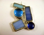 Multi Piece Blue Stained Glass Pendant