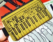 Keyboard Zipper Pouch w\/Detachable Ring- Bright Bright Yellow