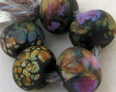 Night Blooms 5 Lampwork Spacer Handmade Glass Beads Romance Blend on Black