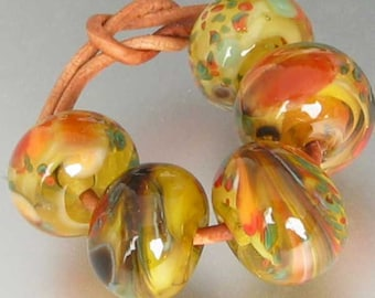 Vermont Autumn 5 Lampwork Spacer Handmade Glass Beads sra