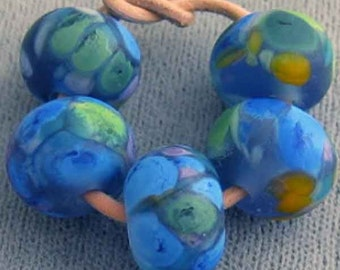 Neptune Gifts  Handmade Lampwork Spacer Beads Etched Blue Green 2-6 bead set