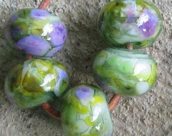 Spring Meadow Handmade Lampwork Spacer Beads Green Purple sra 2-6 bead sets