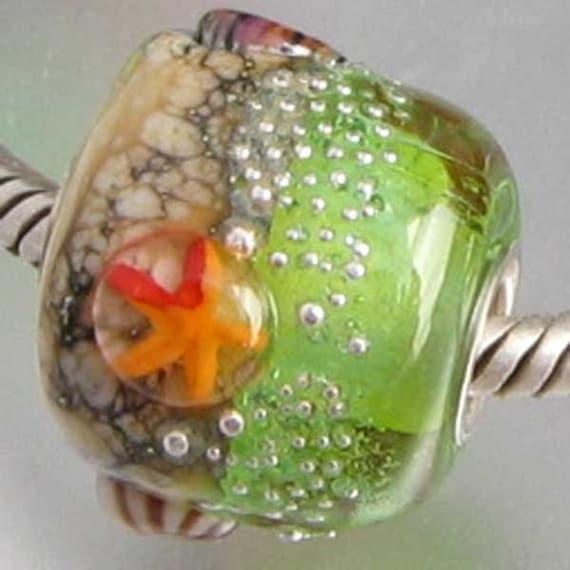 Crystal Green Cove Lampwork European Universal Charm Bead -sra