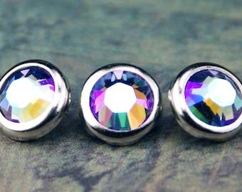 10 Tanzanite Glacier Blue Crystal Hair Snaps - Round Silver Rim Edition -- Made with Swarovski Crystal Element Rhinestones