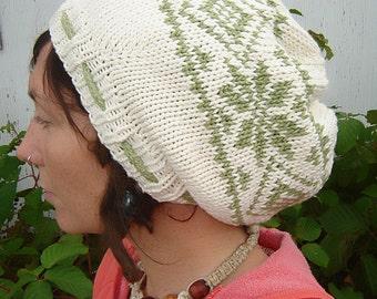PDF Knitting Pattern - Nordic Print Slouchie Tam
