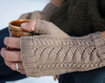 PDF Knitting Pattern - White Caps Fingerless Gloves