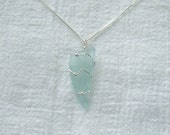 Necklace Seaglass Aquamarine Sterling Silver