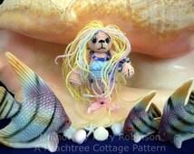 Thread Crochet Pattern - Miniature Mermaid Bear - Mini Bear Pattern - PDF Format