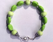 Limeade - Chalk Turquoise, Chrysoprase, and Sterling Bracelet