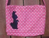 Pink Messenger Bag with Black Bunny