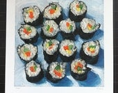 SUSHI -large archival print of original sushi oil painting, food art by Mike Geno