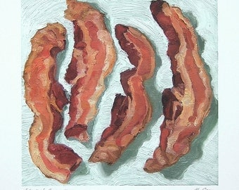 COOKED BACON print - archival print of original bacon painting