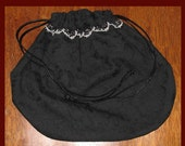 BLACK VICTORIAN STYLE OVAL DRAWSTRING PURSE or TAROT BAG