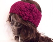 Made to Order - Choose from 45 Colors - Flower Headband Ear Warmer