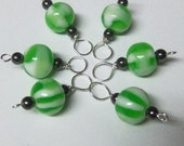 Green Apple Stitch Markers with Hematite Healing Beads (6 Stitch Markers)