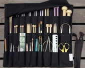 CUSTOM Knitting Needle Case or Art Tool Organizer with BLACK POCKETS for all sizes, circular, straight, dpn, or paint brushes