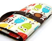 SHORT Knitting Needle Organizer Case - URBAN OWLS - 24 brown pockets for circular, double pointed, interchangable or travel