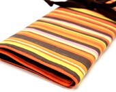 knitting needle case organizer - brown orange stripes - brown pockets for all sizes, circular, straight, dpn, or paint brushes