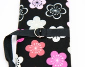 SHORT Knitting Needle Organizer Case - Memei - 24 black pockets for circular, double pointed, interchangable or travel