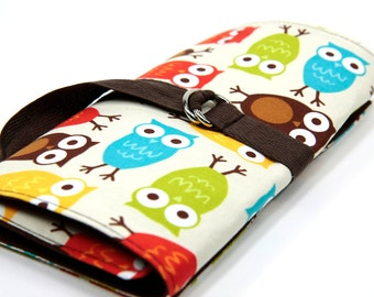 Short Knitting Needle Organizer Case - URBAN OWLS - 24 brown pockets for circular, double pointed, interchangeable or travel