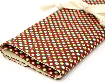 Large Knitting Needle Case Organizer - Funky Dots - 30 natural pockets for all sizes, circular, straight, dpn, or paint brushes