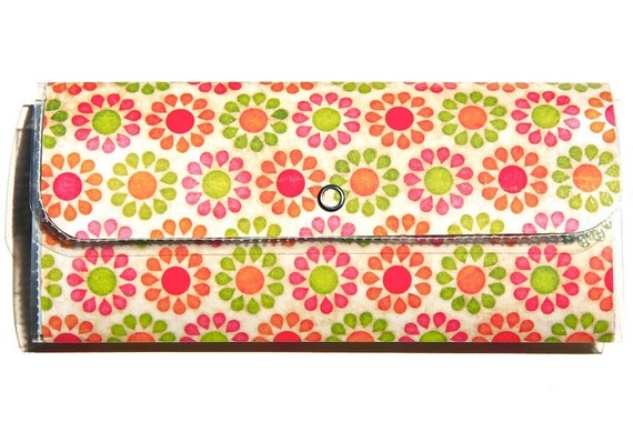 SALE - Long Polly Wallet or Small Clutch - Sparkled Daisies and Dots - LAST ONE - Made with Specialty Paper and Plastic