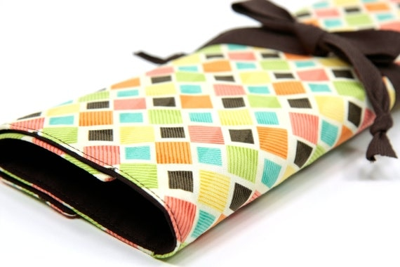 Knitting Needle Case - Squared Up - IN STOCK Large Organizer 30 brown pockets for circular, straight, dpn, or paint brushes