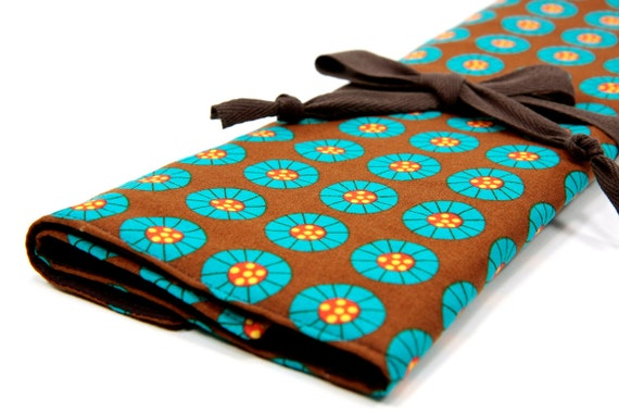 Knitting Needle Case   - On the Bandwagon - IN STOCK Large Organizer 30 brown pockets for circular, straight or dpns