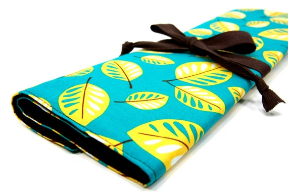 large knitting needle case - art tool organizer - leaves on blue - brown pockets for circular, straight, dpn, or paint brushes