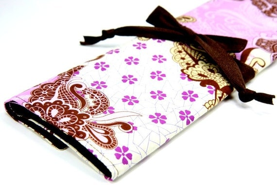 LARGE Knitting Needle Case or Art Tool Organizer - GYPSY - 30 brown pockets for circular, straight, dpn, or paint brushes