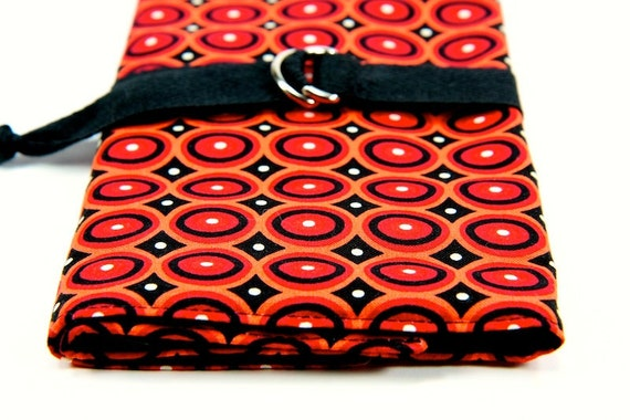 SHORT Knitting Needle Organizer Case - RED OVALS - 24 black pockets for circular, double pointed, interchangable or travel