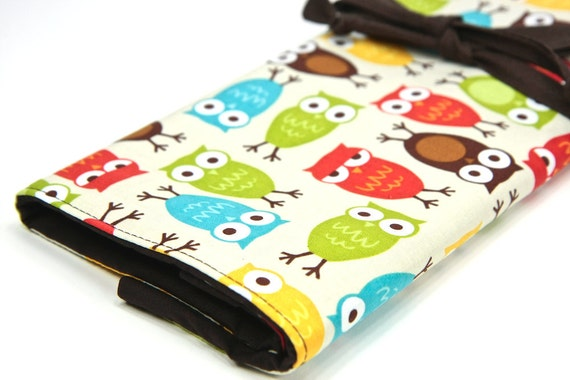 Large Knitting Needle Case - Urban Owls - 30 Brown Pockets