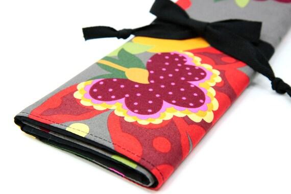 Knitting Needle Case Organizer  - Mod Japanese - 30 black pockets for circular, straight, dpn, or paint brushes