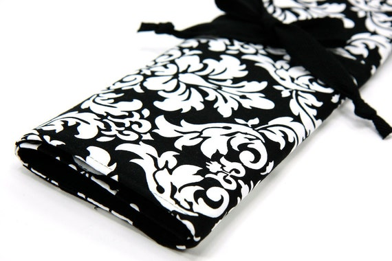 Large Knitting Needle Case Organizer - Black White Damask - 30 black pockets for circular, straight, dpn, or paint brushes