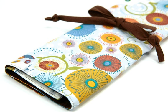 large knitting needle case - art tool organizer - zalle - brown pockets for circular, straight, dpn, or paint brushes