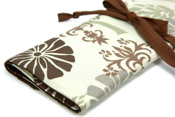 Large Knitting Needle Case Organizer - Delhi - 30 brown pockets for circular, straight, dpn, or paint brushes
