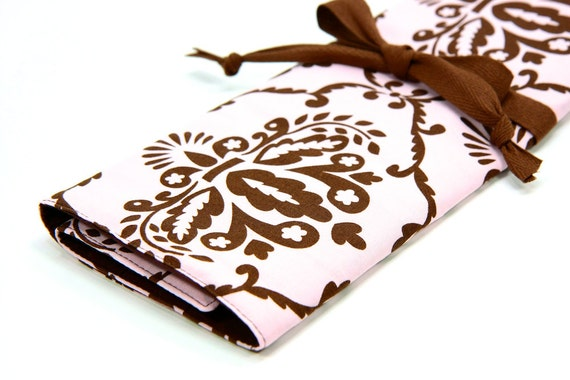 Knitting Needle Case - Leanika Damask - IN STOCK brown pockets for circular, straight, dpn, or paint brushes