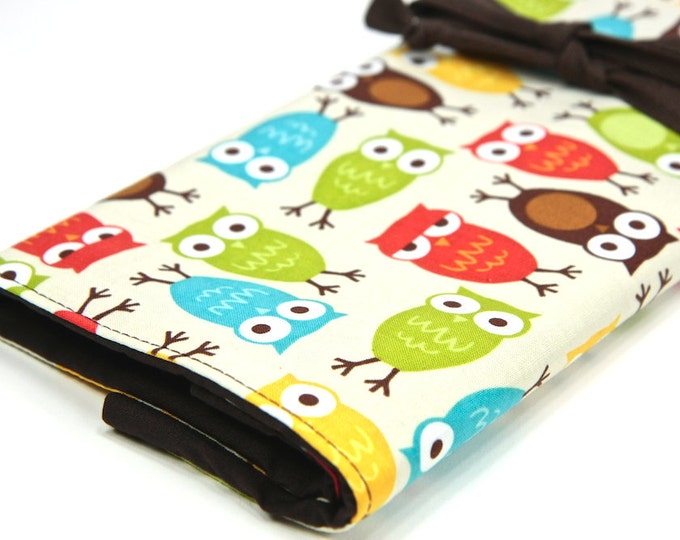 Featured listing image: Knitting Needle Case - Urban Owls - multi 30 brown pockets