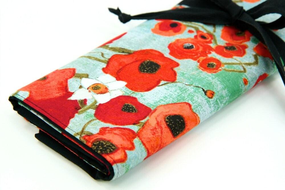 Knitting Organizer Case : Large knitting needle case organizer fiori multi black